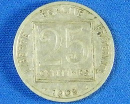 1903 FRANCE L1, TWENTY-FIVE CENT  COIN J 865