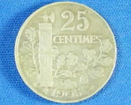 FRANCE L1, 1905 TWENTY-FIVE CENTIMES COIN T949