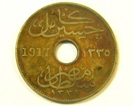 EGYPT L1, TEN MILLIEMES 1917 COIN T966