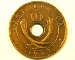 EAST AFRIC A L1, 1937 TEN CENT COIN T969