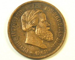 "BRAZIL  L1, 1868 20 REIS ""REAL"" PETER II COIN T980"