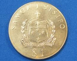 WESTERN SAMOA L1, ONE DOLLAR ROYAL JUBLIEE 1977 COIN T997