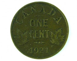 CANADA COIN L1, ONE CENT COIN 1921 T1031