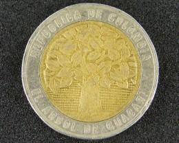 COLUMBIA COIN L1, 1996 FIVE HUNDRED PESOS BI-METAL T1056