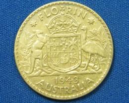 AUSTRALIA COIN L1, FLORIN 1943 COIN  925 SILVER T1070