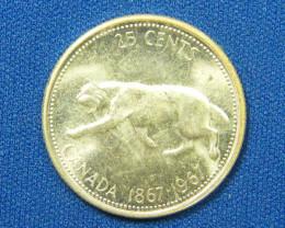 CANADA COIN L1, 1967 QUARTER TWENTY-FIVE CENT COIN T1074