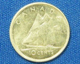 CANADA COIN L1, 1965 TEN CENT COIN T1085