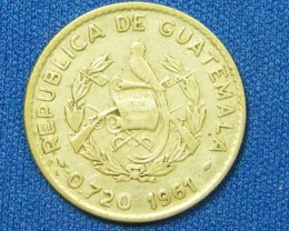 GUATEMALA COIN L1, 1961 TEN CENT COIN T1086
