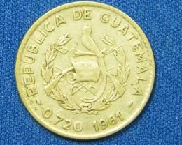 GUATEMALA COIN L1, 1961 TEN CENT COIN T1086
