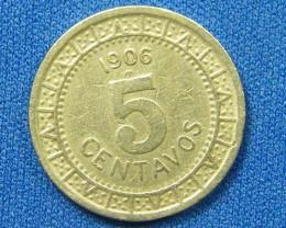 MEXICO COIN L1, 1906 FIVE CENTAVOS COIN T1090