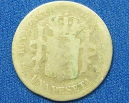 SPAIN COIN L1, 1891 ONE PESETA COIN T1091
