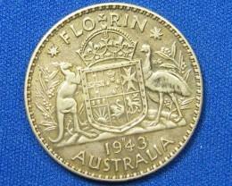 AUSTRALIA COIN L1, 1943 FLORIN COIN  925 SILVER  T1092