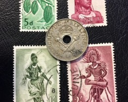 PAPUA NEW GUINEA COIN L1, 1936 ONE SHILLING COIN PLUS STAMPS  T1102