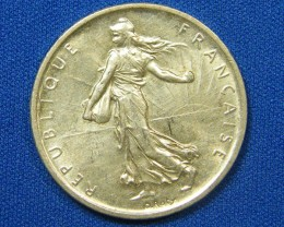 FRANCE COIN L1, FIVE FRANC .835 SILVER 1960 COIN T1103