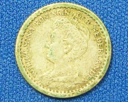 NETHERLANDS COIN L1, 1915 TEN CENT COIN T1107