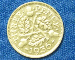 GREAT BRITIAN COIN L1, 1936 THREE PENCE COIN T1113