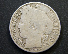 FRANCE COIN L1, 1872 ONE FRANC T1122