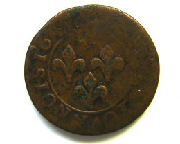 BIG Wed AUCTION -FRANCE COIN L1, 1640 DOUBLE TOURNIOS T1124