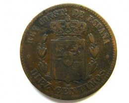 SPAIN COIN L1, 1878 TEN CENTIMES COIN T1128