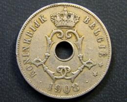 BELGIUM COIN L1, 1908 TWENTY FIVE CENTIMES COIN T1142