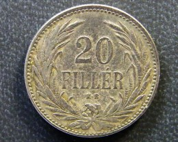 HINGARY COIN L1, 1893 TWENTY FILLER COIN T1143