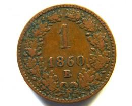 AUSTRIA COIN L1, 1860 ONE KREUZER COIN T1145