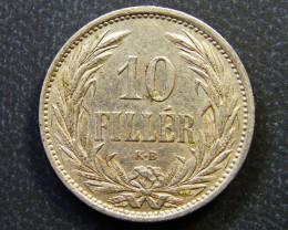 HUNGARY COIN L1, 1908 TEN FILLER COIN T1146