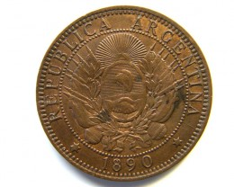 ARGENTINA COIN L1, 1890 TWO CENTAVO COIN T1154