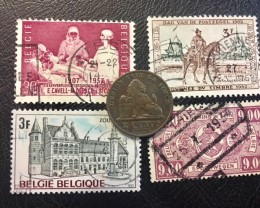 BELGIUM COIN L1, 1876 TWO CENTIME COIN  plus stamps T1157