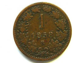 AUSTRIA COIN L1, 1858 ONE KREUZER COIN T1165