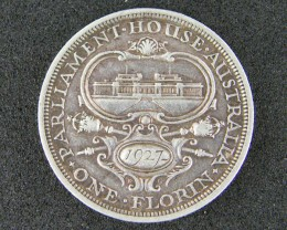 , 1927 PARLIMENT HOUSE FLORIN COIN  925 SILVER T791
