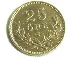SWEDEN COIN L1, TWENTY-FIVE ORE SILVER COIN T1255
