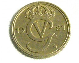 SWEDEN COIN L1,1921  1 ORE SILVER COIN T1258