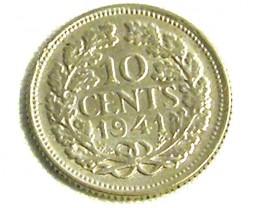 NETHERLANDS COIN L1, 1941 TEN CENT COIN T1262