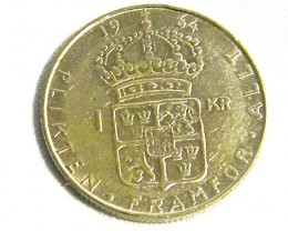 SWEDEN COIN L1, 1964 ONE KRONER SILVER COIN T1263