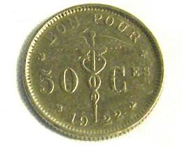 BELGIUM COIN L1, 1922 TEN CENT COIN T1268