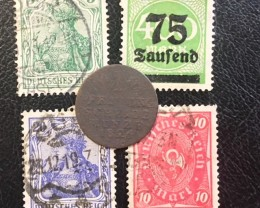 GERMANY COIN L1, 1826 1 PFENNING COIN plus stamps  T1274