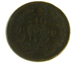 ITALY COIN L1, 1867 TEN CENTIMES COIN  J  863