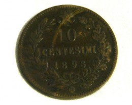 ITALY COIN L1, 1893 TEN CENT COIN T1287