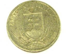 SLOVAKIA COIN L1, 1939 FIVE KORUN COIN  T1289