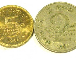 SRI LANKA COIN L2, 1981 TWO & 1984 FIVE RUPEE COINS T1335