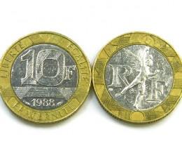 2 X BI METAL COINS FRANCE 1988,1991   T1345