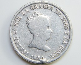 SILVER SPANISH COIN      1850 CO 40