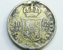 SILVER SPANISH COIN  10 GS  1868    CO 41