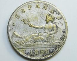 SILVER SPANISH COIN  2PESETAS 1869    CO 33