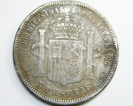 SILVER SPANISH COIN 5 PESETAS   1871     CO 334