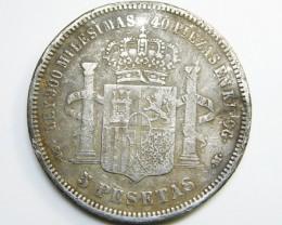 SILVER SPANISH COIN 5 PESETAS   1871     CO 334