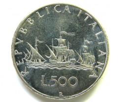UNC .825  SILVER ITALIAN  COIN  500 L 2000  CO 47