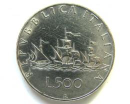UNC .825  SILVER ITALIAN  COIN  500 L 2000  CO 49