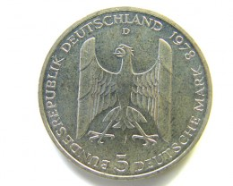 UNC .625  SILVER GERMAN 5 MARK   COIN  1978   CO51